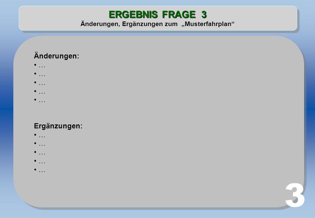 """ERGEBNIS FRAGE 3 Änderungen, Ergänzungen zum """"Musterfahrplan"""