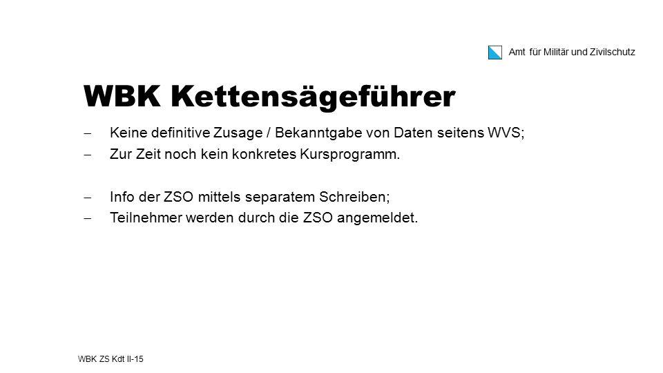 WBK Kettensägeführer Keine definitive Zusage / Bekanntgabe von Daten seitens WVS; Zur Zeit noch kein konkretes Kursprogramm.