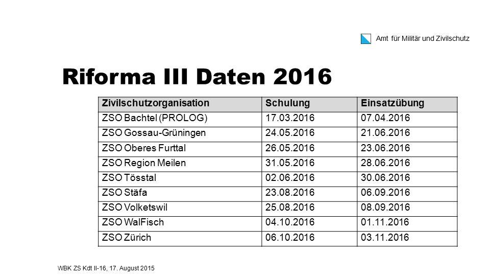 Riforma III Daten 2016 Zivilschutzorganisation Schulung Einsatzübung