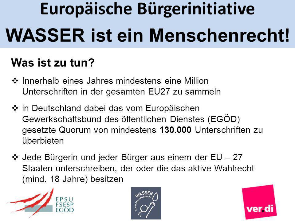 Was ist zu tun Innerhalb eines Jahres mindestens eine Million Unterschriften in der gesamten EU27 zu sammeln.