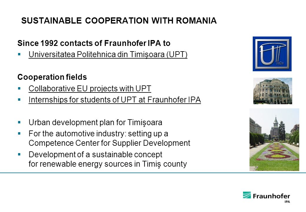 SUSTAINABLE COOPERATION WITH ROMANIA