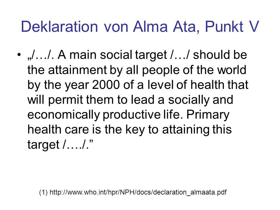 Deklaration von Alma Ata, Punkt V