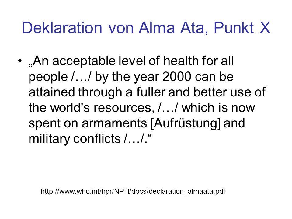 Deklaration von Alma Ata, Punkt X