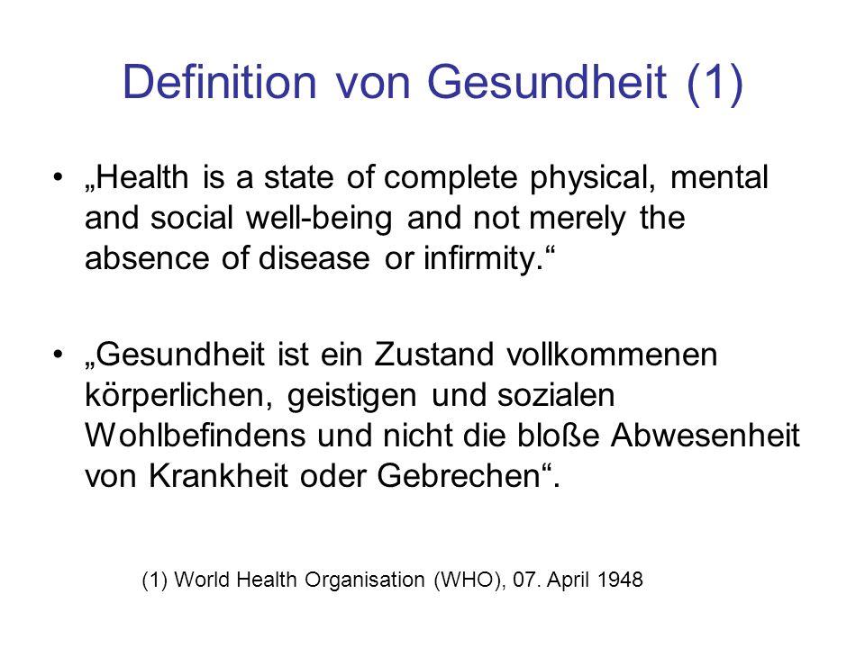 Definition von Gesundheit (1)
