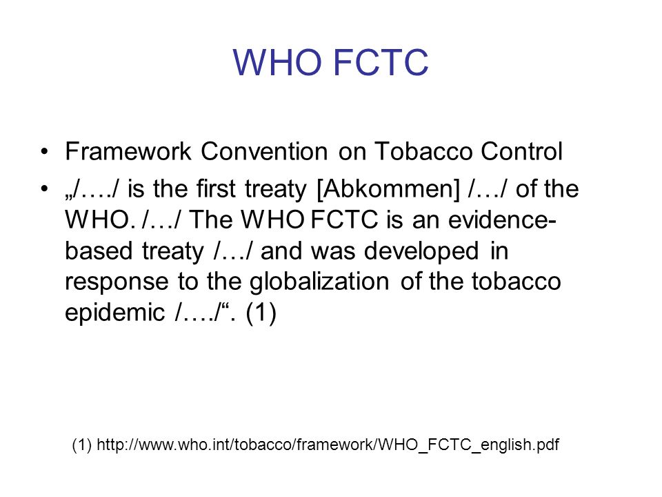 WHO FCTC Framework Convention on Tobacco Control