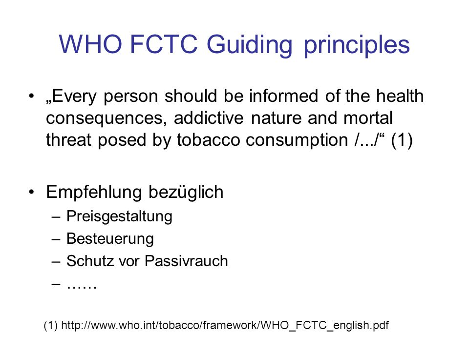 WHO FCTC Guiding principles