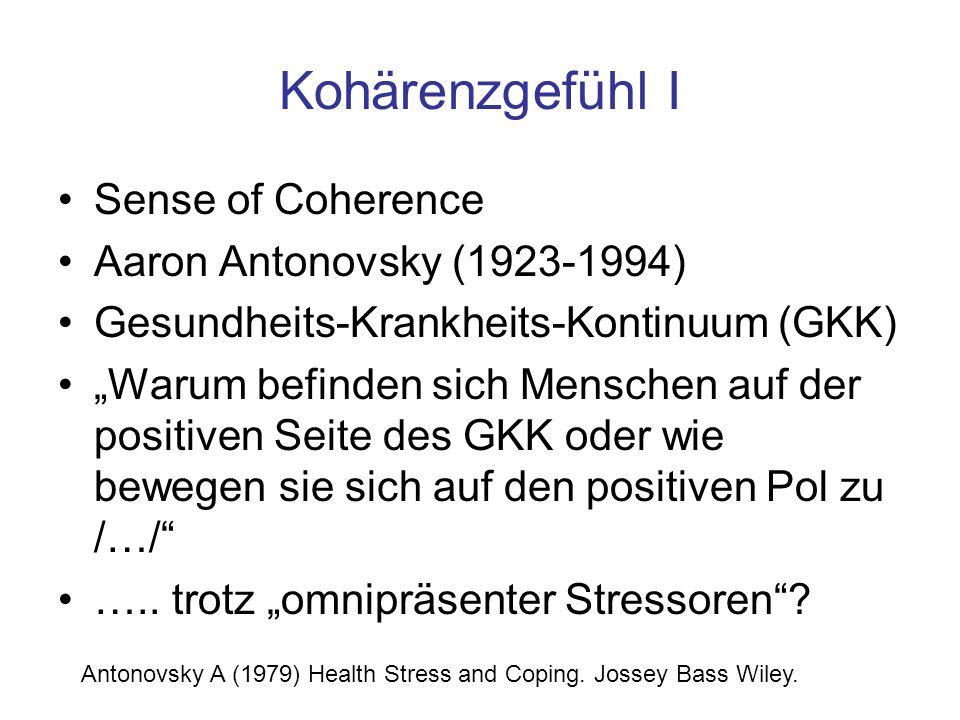 Kohärenzgefühl I Sense of Coherence Aaron Antonovsky (1923-1994)