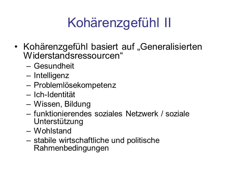 """Kohärenzgefühl II Kohärenzgefühl basiert auf """"Generalisierten Widerstandsressourcen Gesundheit. Intelligenz."""