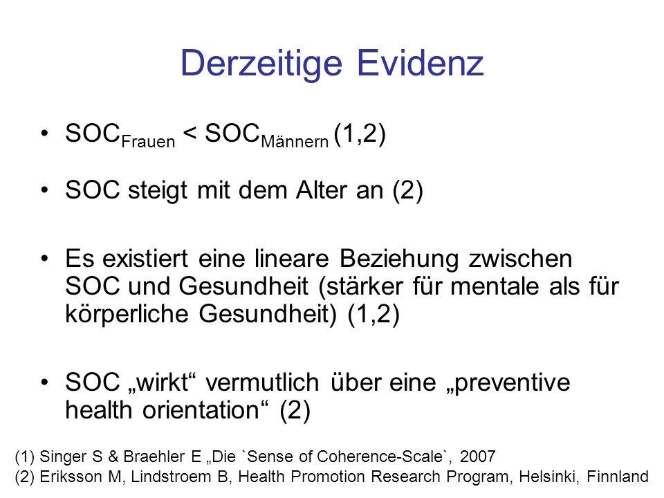 Derzeitige Evidenz SOCFrauen < SOCMännern (1,2)