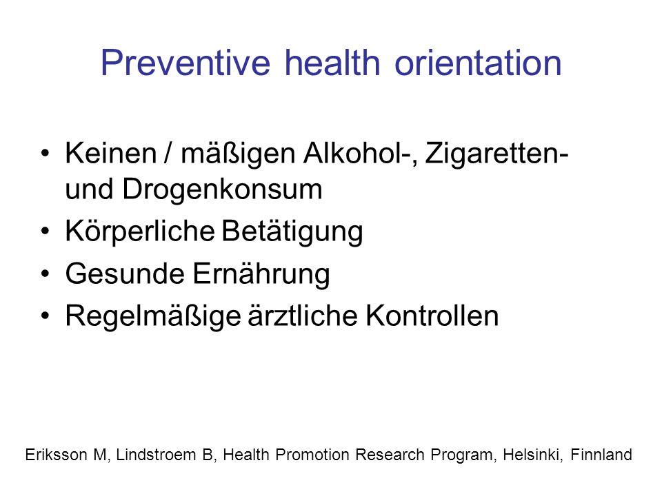 Preventive health orientation