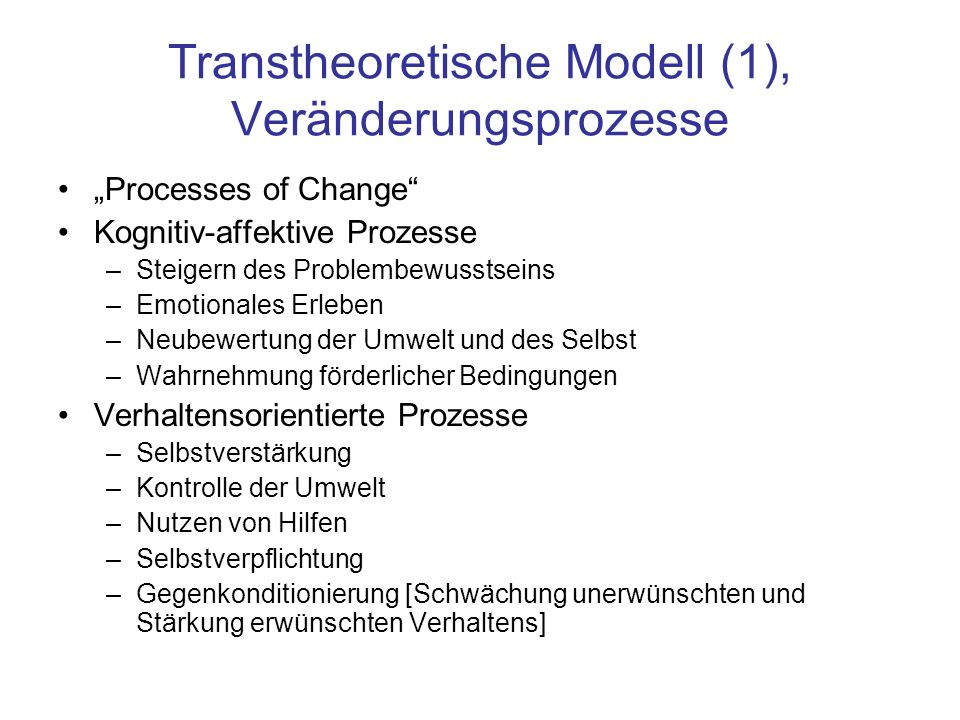 Transtheoretische Modell (1), Veränderungsprozesse