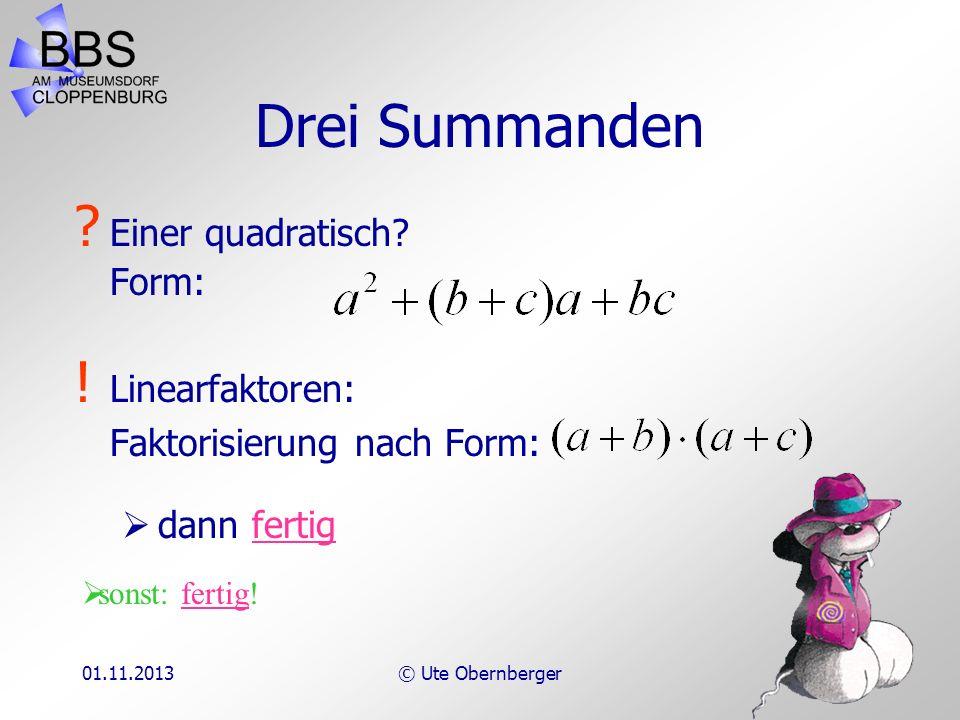 Drei Summanden Einer quadratisch Form: Linearfaktoren: