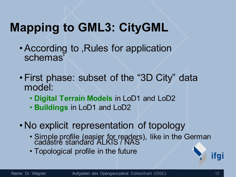Mapping to GML3: CityGML