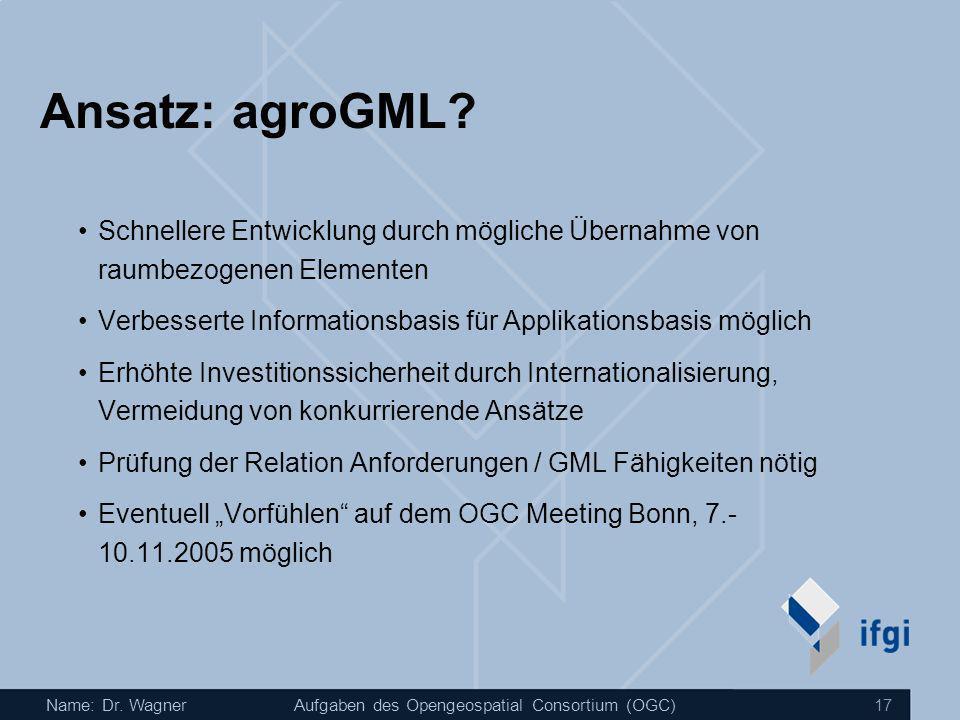Ansatz: agroGML Schnellere Entwicklung durch mögliche Übernahme von raumbezogenen Elementen.