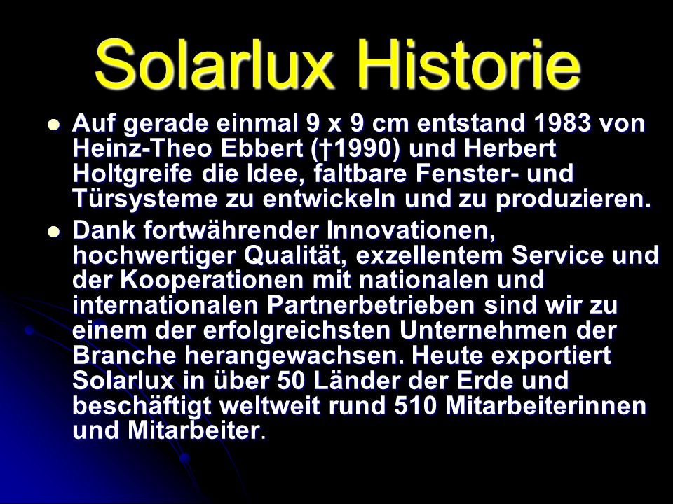 Solarlux Historie