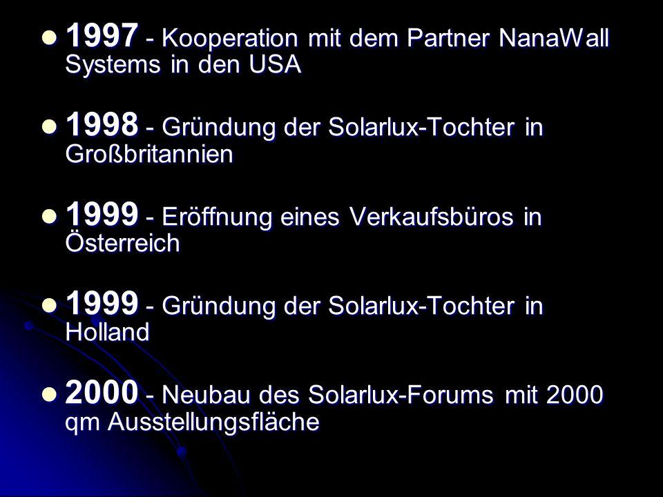 1997 - Kooperation mit dem Partner NanaWall Systems in den USA