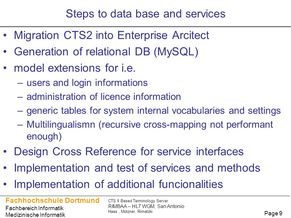 Steps to data base and services