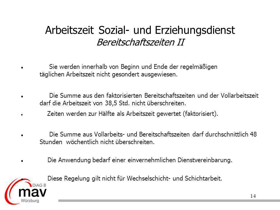 Arbeitszeit Sozial- und Erziehungsdienst Bereitschaftszeiten II