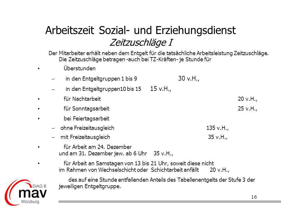 Arbeitszeit Sozial- und Erziehungsdienst Zeitzuschläge I