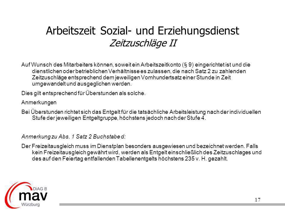 Arbeitszeit Sozial- und Erziehungsdienst Zeitzuschläge II