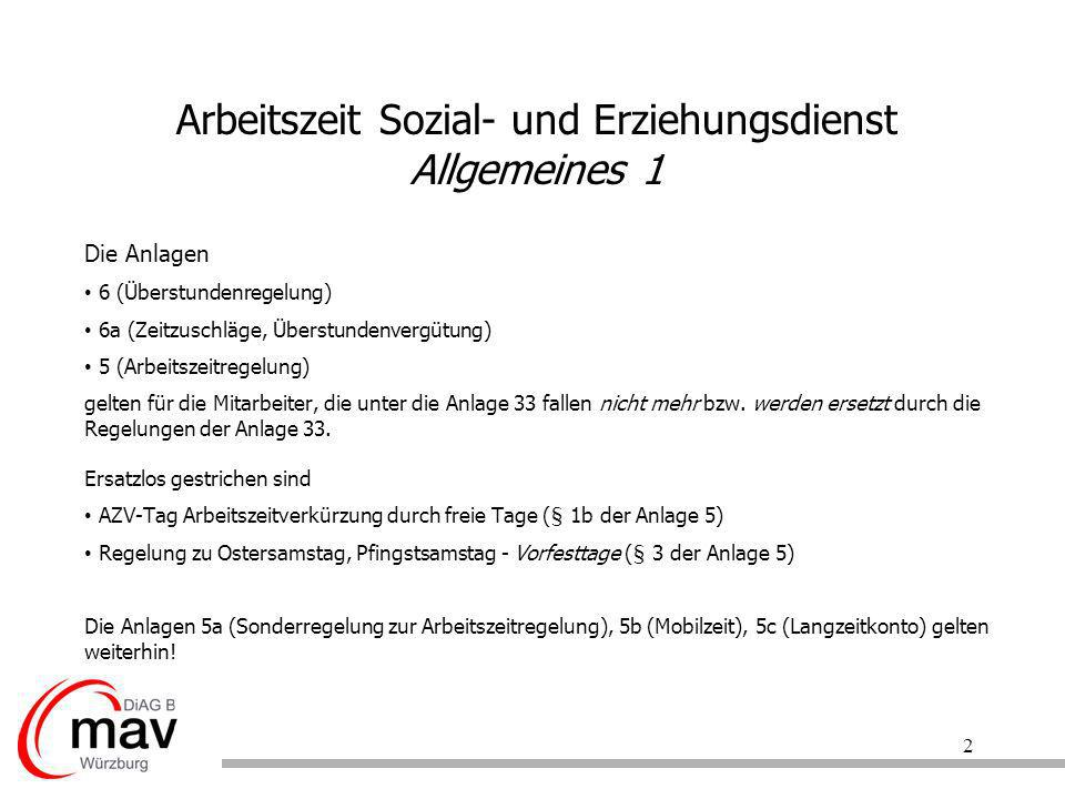 Arbeitszeit Sozial- und Erziehungsdienst Allgemeines 1