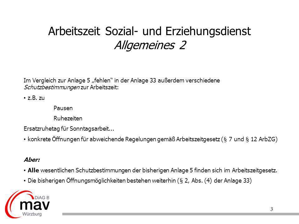 Arbeitszeit Sozial- und Erziehungsdienst Allgemeines 2