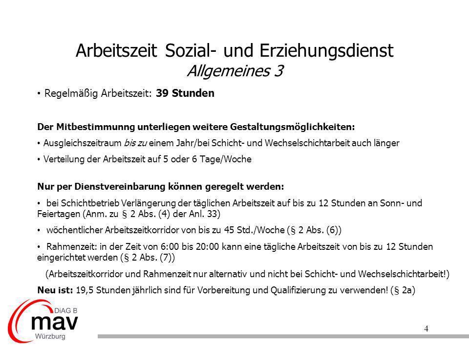 Arbeitszeit Sozial- und Erziehungsdienst Allgemeines 3