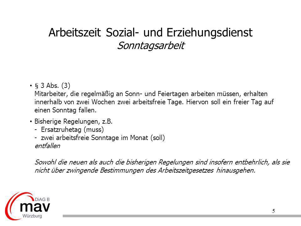 Arbeitszeit Sozial- und Erziehungsdienst Sonntagsarbeit