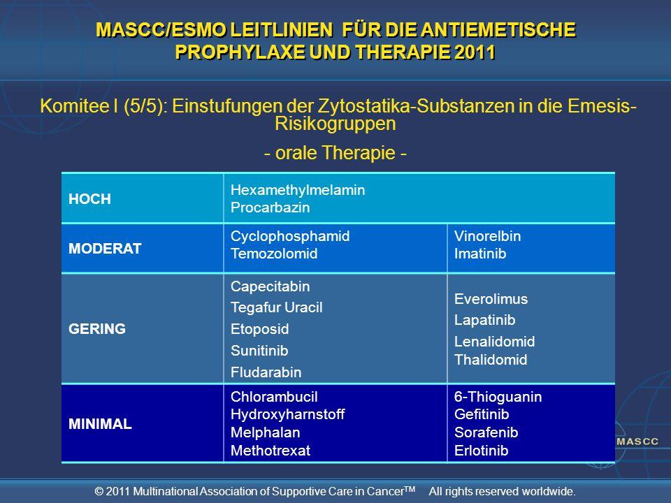 MASCC/ESMO LEITLINIEN FÜR DIE ANTIEMETISCHE PROPHYLAXE UND THERAPIE 2011