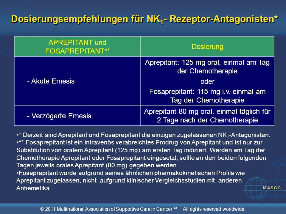 Dosierungsempfehlungen für NK1- Rezeptor-Antagonisten*