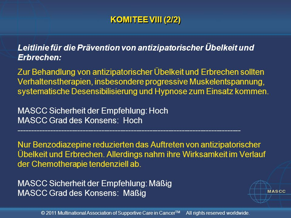 KOMITEE VIII (2/2)Leitlinie für die Prävention von antizipatorischer Übelkeit und Erbrechen: