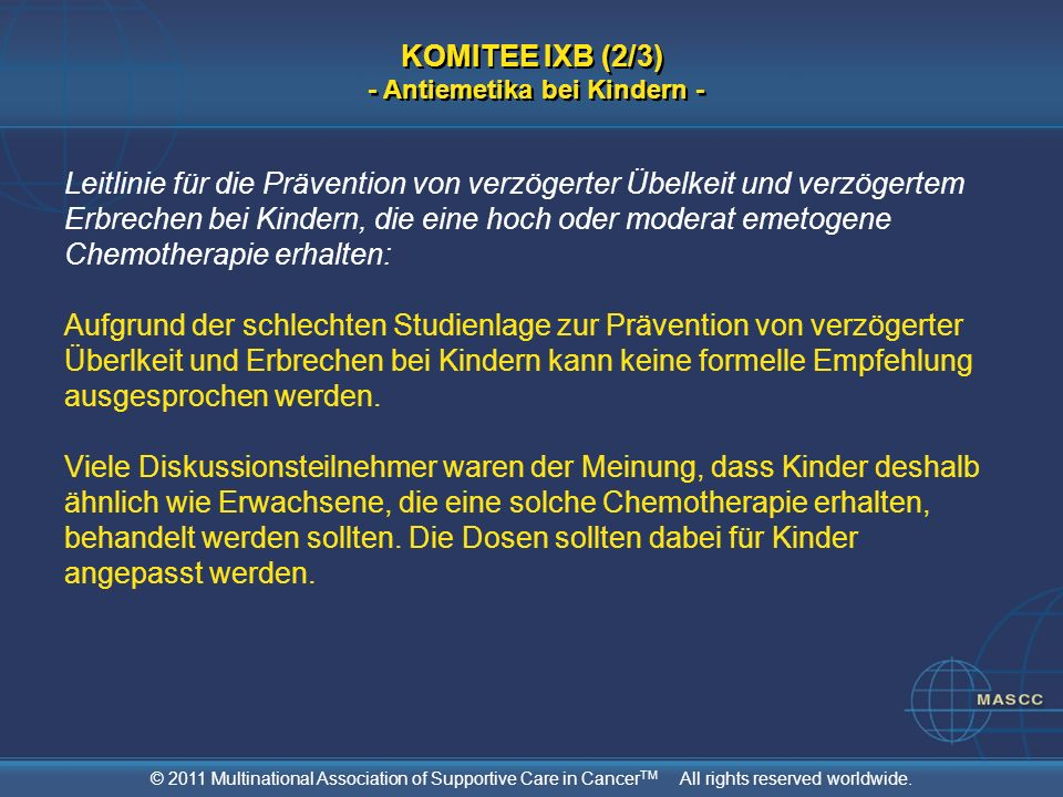 KOMITEE IXB (2/3) - Antiemetika bei Kindern -