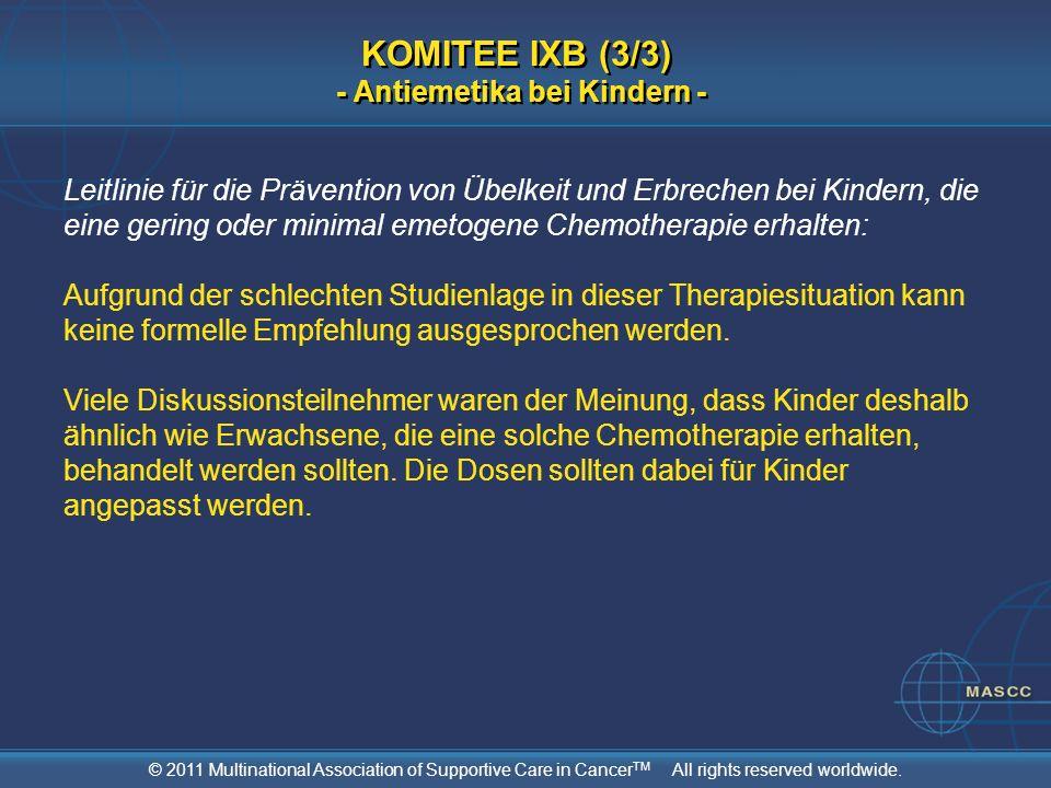 KOMITEE IXB (3/3) - Antiemetika bei Kindern -