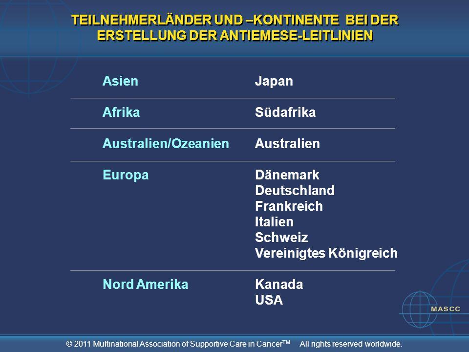TEILNEHMERLÄNDER UND –KONTINENTE BEI DER ERSTELLUNG DER ANTIEMESE-LEITLINIEN