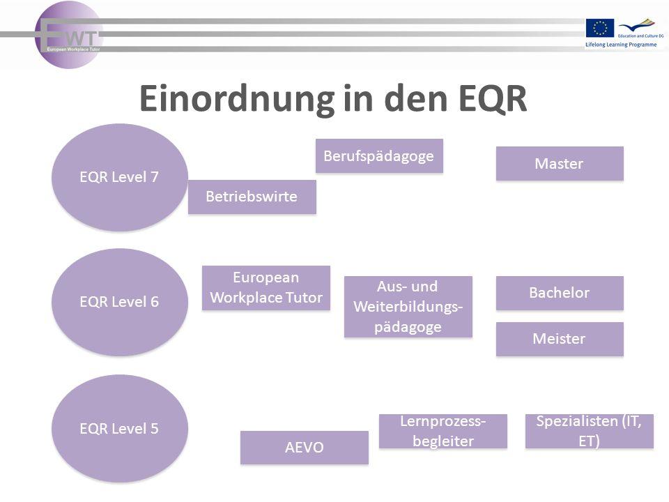 Einordnung in den EQR EQR Level 7 Berufspädagoge Master Betriebswirte
