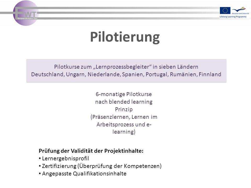 """Pilotierung Pilotkurse zum """"Lernprozessbegleiter in sieben Ländern"""