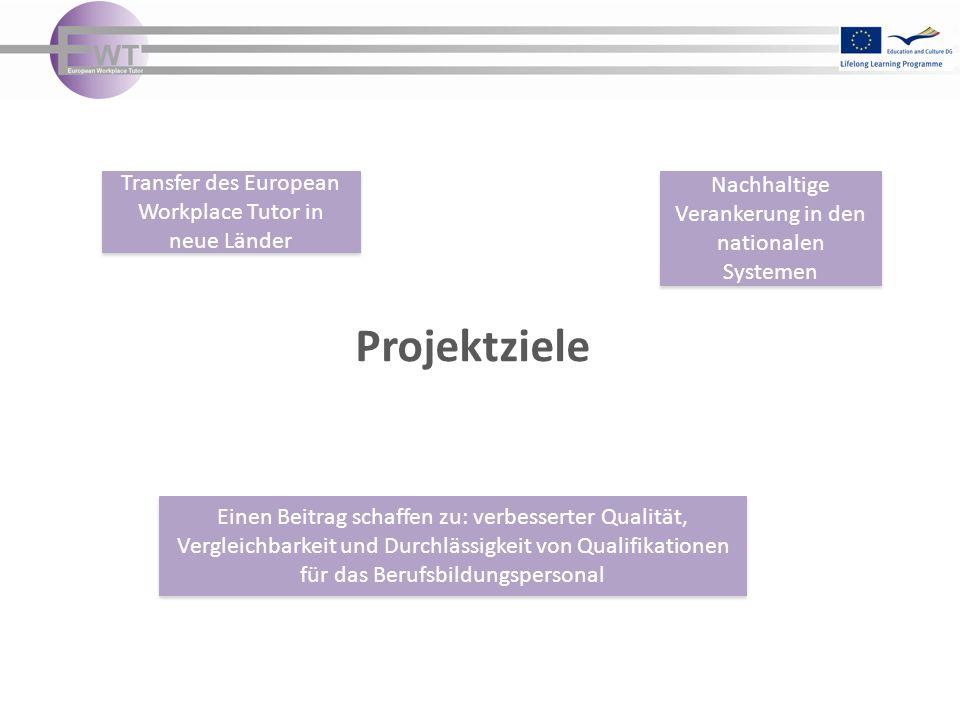 Projektziele Transfer des European Workplace Tutor in neue Länder