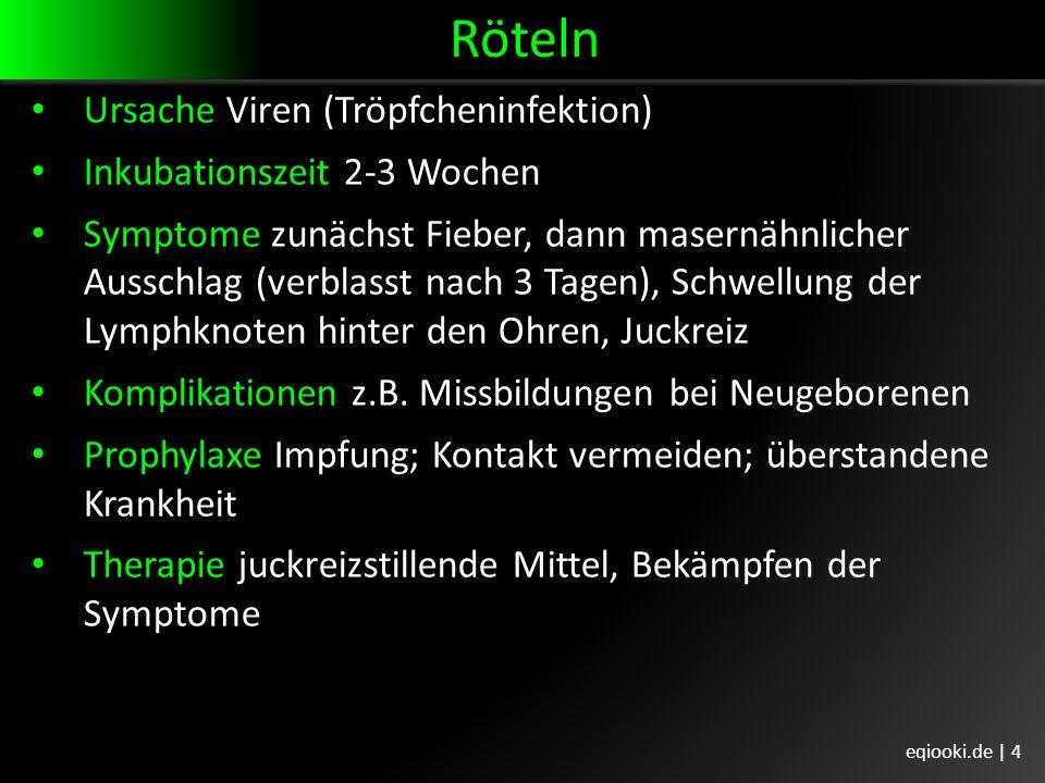 Röteln Ursache Viren (Tröpfcheninfektion) Inkubationszeit 2-3 Wochen