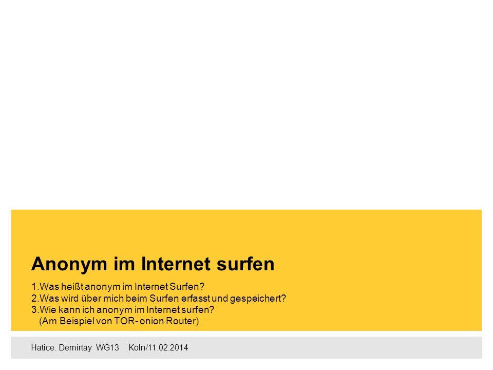 Agenda 1. Was heißt anonym im Internet Surfen Seite 2-3 2.