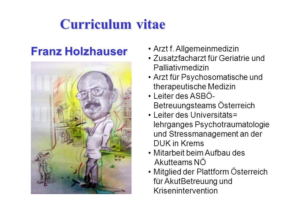 Curriculum vitae Franz Holzhauser Arzt f. Allgemeinmedizin