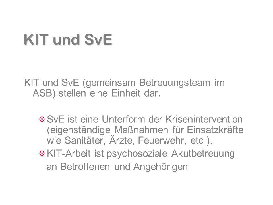 KIT und SvE KIT und SvE (gemeinsam Betreuungsteam im ASB) stellen eine Einheit dar.