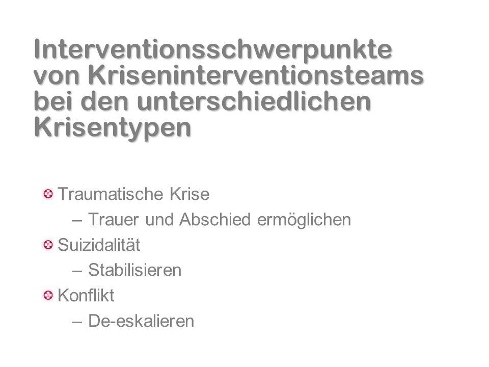 Interventionsschwerpunkte von Kriseninterventionsteams bei den unterschiedlichen Krisentypen