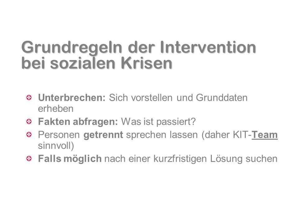 Grundregeln der Intervention bei sozialen Krisen