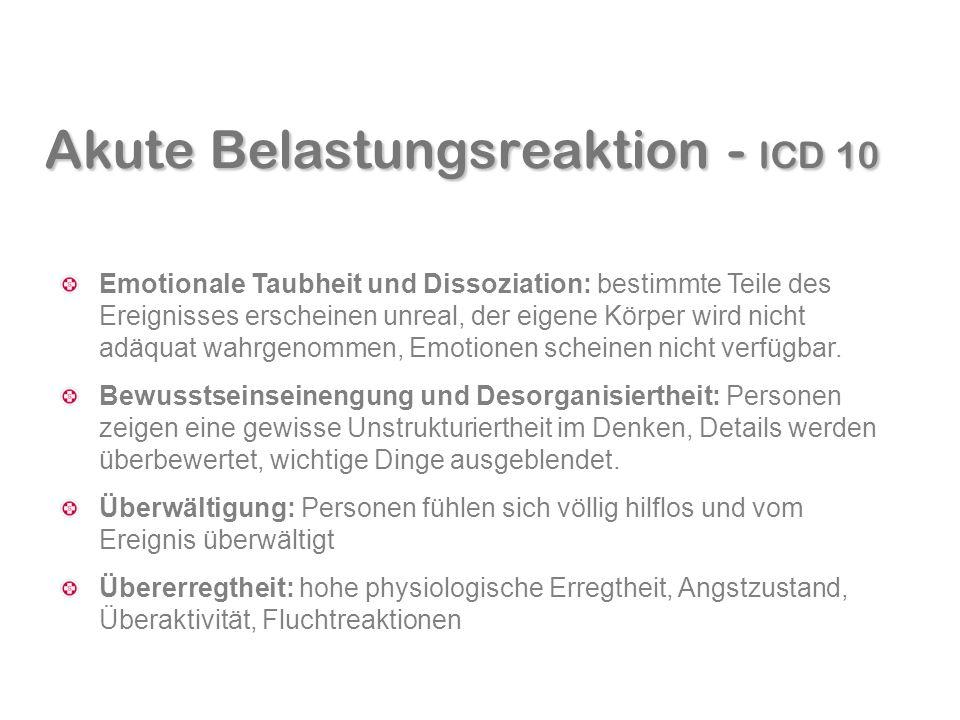 Akute Belastungsreaktion - ICD 10