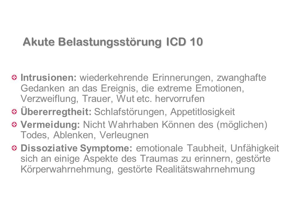 Akute Belastungsstörung ICD 10