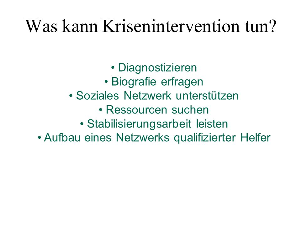 Was kann Krisenintervention tun