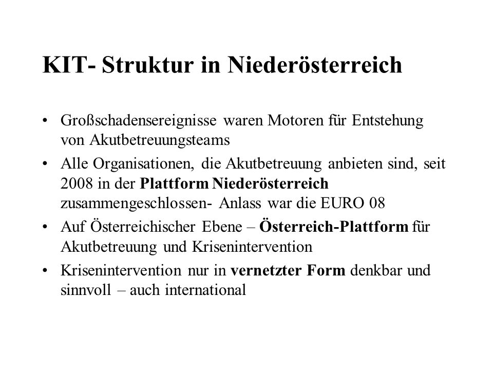 KIT- Struktur in Niederösterreich