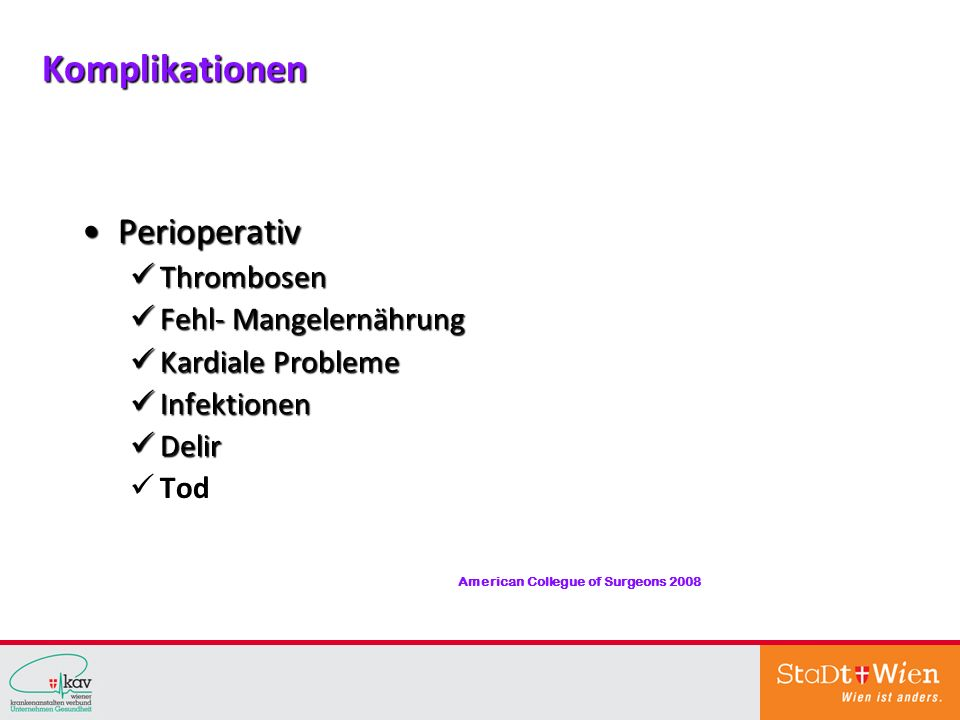 Komplikationen Perioperativ Thrombosen Fehl- Mangelernährung