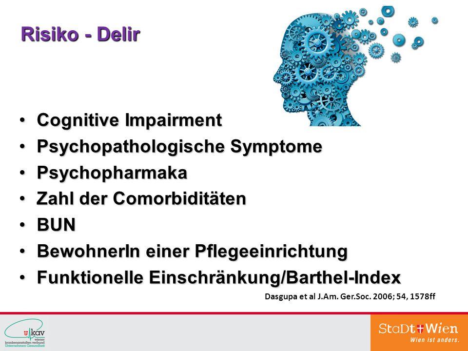 Risiko - Delir Cognitive Impairment Psychopathologische Symptome