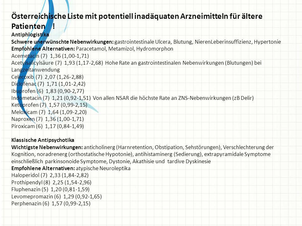 Österreichische Liste mit potentiell inadäquaten Arzneimitteln für ältere Patienten !